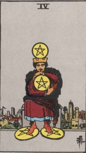 Rider-Waite tarot card: The four of coins